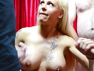 Golden-haired bukakke whore very much cum on her