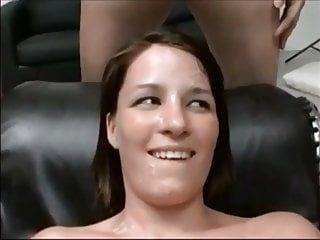 Non-professional home made bukkake for cute brunette hair - very hot