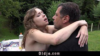 French juvenile hotty outdoor oral-sex lewd sex throat impure of old ejaculation