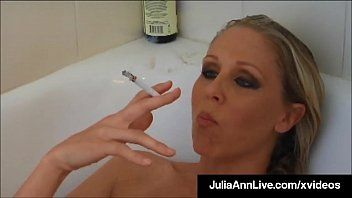 Breasty blond milf julia ann smokes her cigs soaking in tub
