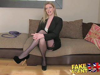 Fakeagentuk stocking clad milf gives oral sex feast on casting