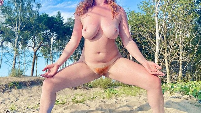 Undressed shaggy ginger love tunnel beach yoga stretch large scoops curvy non-professional redhead milf risky public in natures garb