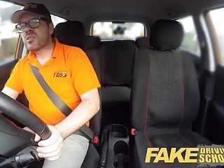 Fake driving school breasty older milf copulates instructor