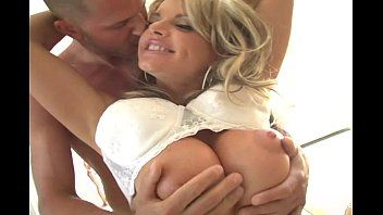 Golden-haired milf with massive bra buddies receives pumped