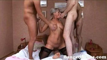 Dp and group sex with 4 younger lads and golden-haired sexy milf - xhamstercom